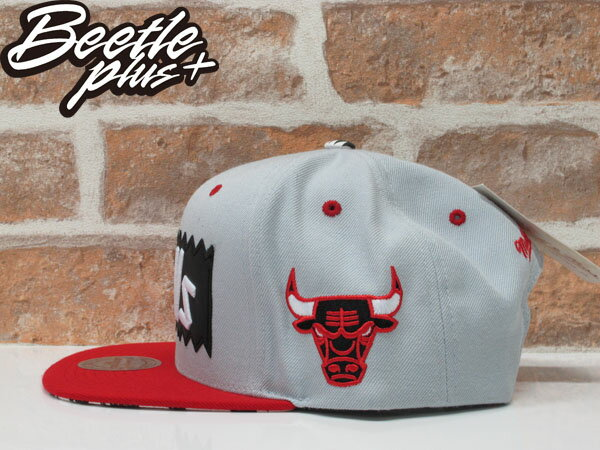 BEETLE PLUS MITCHELL&NESS X BAIT X NBA BULLS 公牛 灰紅 JORDAN ROSE SNAPBACK MN-119 1