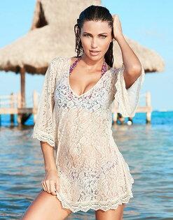 罩衫蕾絲鏤空花邊下襬連身裙沙灘比基尼罩衫【ZS290】BOBI0426