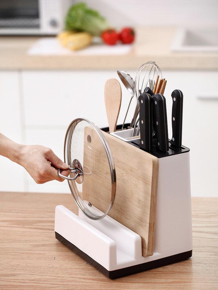刀架 多功能刀架砧板一體廚房用品收納置物架放菜板筷子鍋蓋刀具的盒子【xy1899】