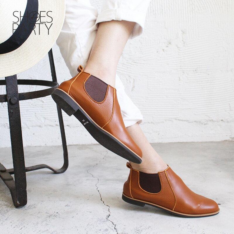 預購【F2-18107L】側鬆緊帶小尖頭真皮短靴-日本製 3