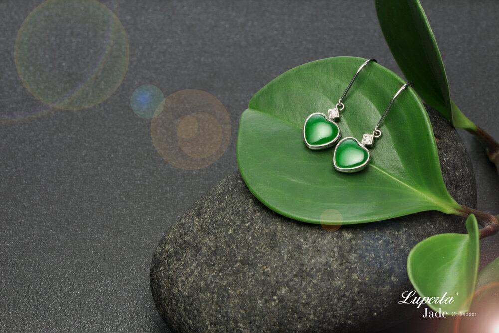 大東山珠寶 珍愛 天然緬甸老坑玻璃種A貨翡翠 頂級真鑽18K白金耳環 5