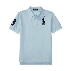 美國百分百【Ralph Lauren】Polo 衫 RL 短袖 網眼 上衣 深藍大馬 男款青年版 XS S號 藍灰 B003