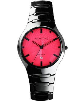 Relax Time RT-26-9馬卡龍系桃紅黑陶瓷腕錶/桃紅面36.6mm