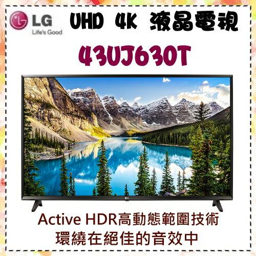 回函贈VOD電影【LG 樂金】43型 4K IPS UHD智慧行動連結電視《43UJ630T》原廠全新公司貨