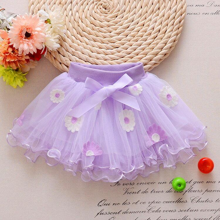 2017年夏季新款 韓版熱銷 裙子 短裙 立體花半身網紗蓬蓬裙 女童