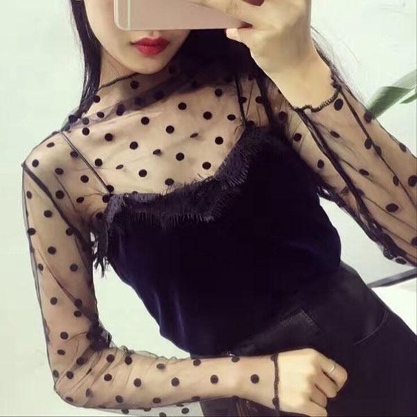 點點 漁網衣 網格 鏤空 網洞 網紗 透視 透膚 性感 蕾絲 透明 打底衫 小可愛 比基尼