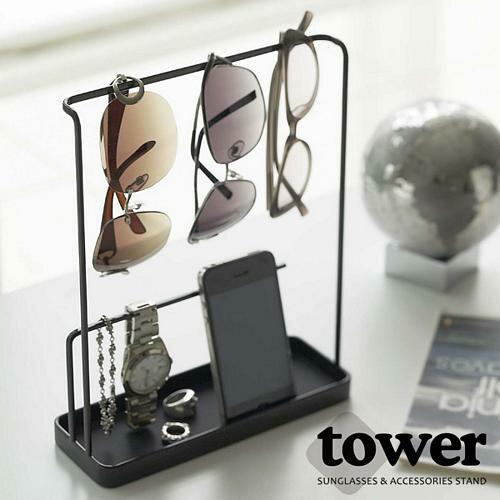 【YAMAZAKI】日系極簡風飾品配件收納架-白/黑★首飾盒/項鍊展示架/眼鏡架/手機架