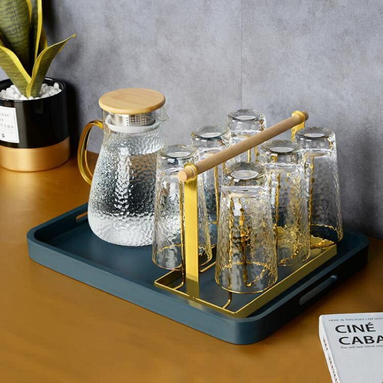 轻奢玻璃杯挂架沥水托盘置物架杯架子水杯架欧式收纳倒挂杯子架子 korea時尚記