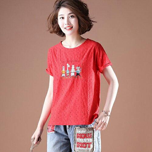 純棉短袖韓版寬鬆刺繡T恤(4色L~5XL)【OREAD】 0