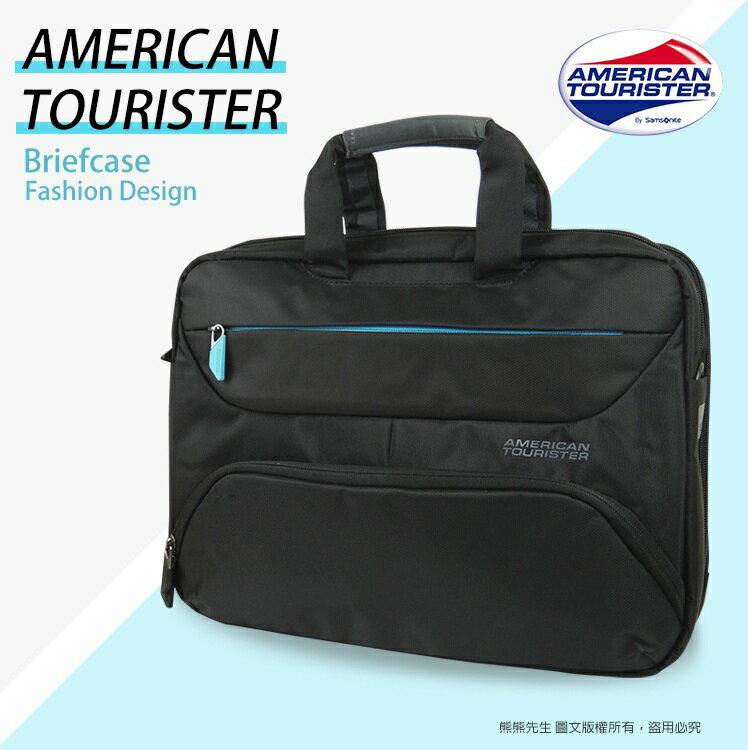 《熊熊先生》新秀李AT美國旅行者 14吋筆電公事包/電腦包AMBER手提/肩背/斜背包 可插掛行李箱拉桿 81S*003
