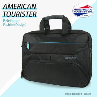 《熊熊先生》新秀李AT美國旅行者14吋筆電公事包電腦包AMBER手提肩背斜背包可插掛行李箱拉桿81S*003
