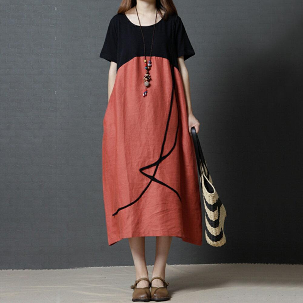 棉麻撞色圓領連身裙(2色M~2XL)【OREAD】 3