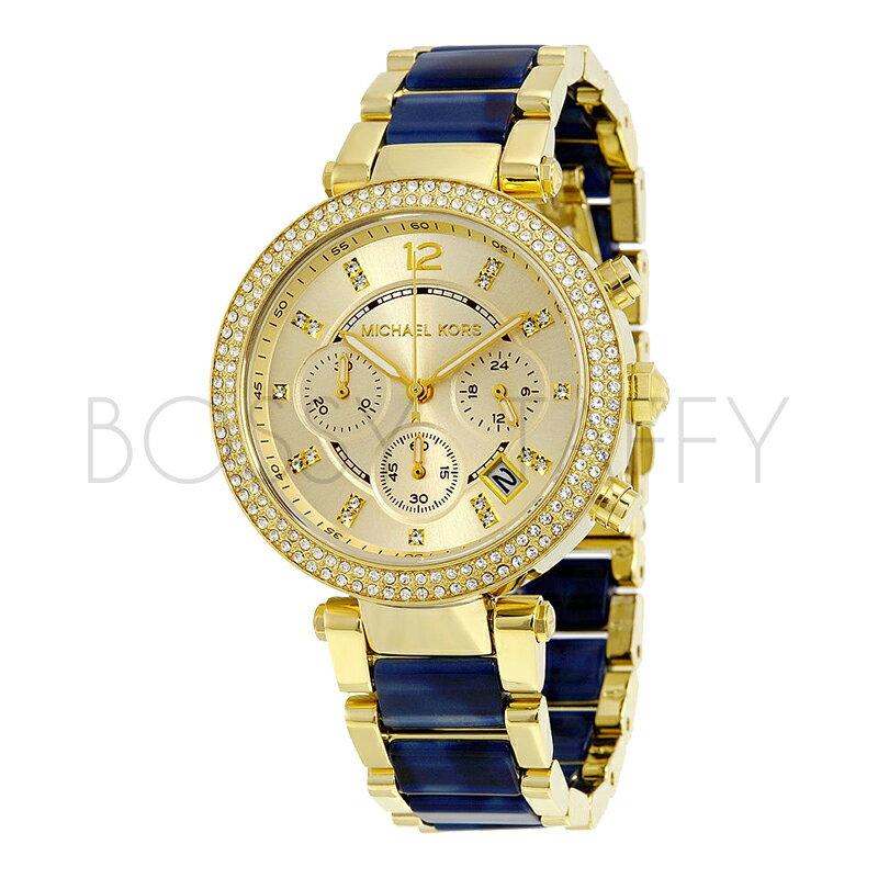 Michael Kors 璀璨迷漾晶鑽三眼玻麗腕錶 - 金X玳瑁/39mm (MK6238)