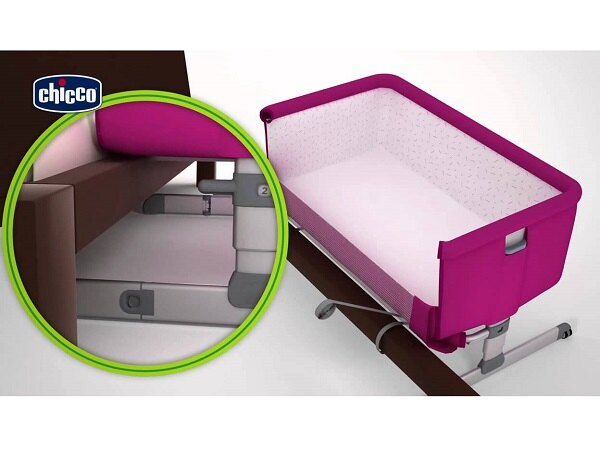 【贈抗菌液60ml+玩偶(隨機)】義大利【Chicco】Next 2 Me多功能移動舒適嬰兒床(紫紅色) 6