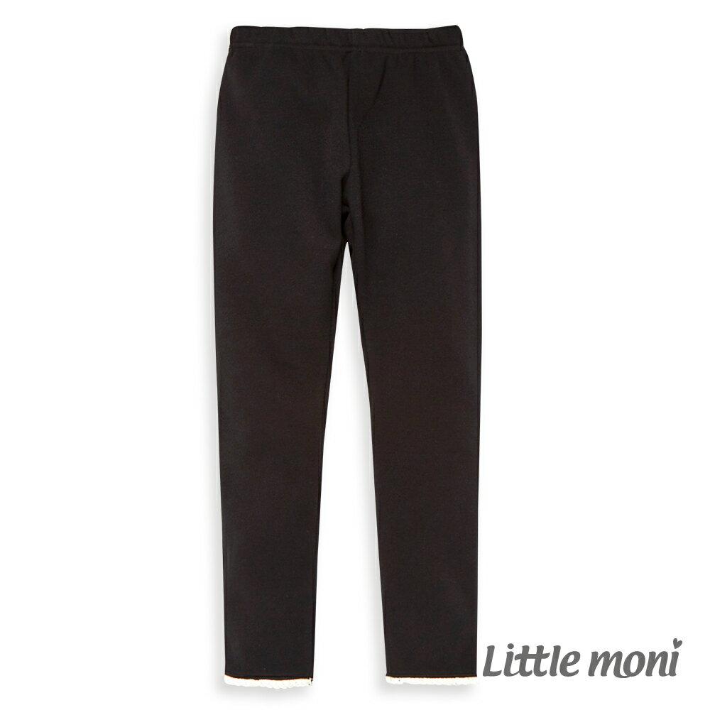 Little moni 褲口蕾絲花邊合身褲-黑色(好窩生活節) - 限時優惠好康折扣