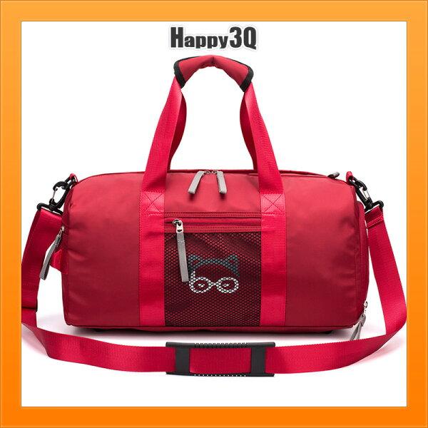 旅行包手提包健身包乾濕分離訓練包短程出遊圓桶包斜背包旅行包-黑灰紅棕藍【AAA4680】
