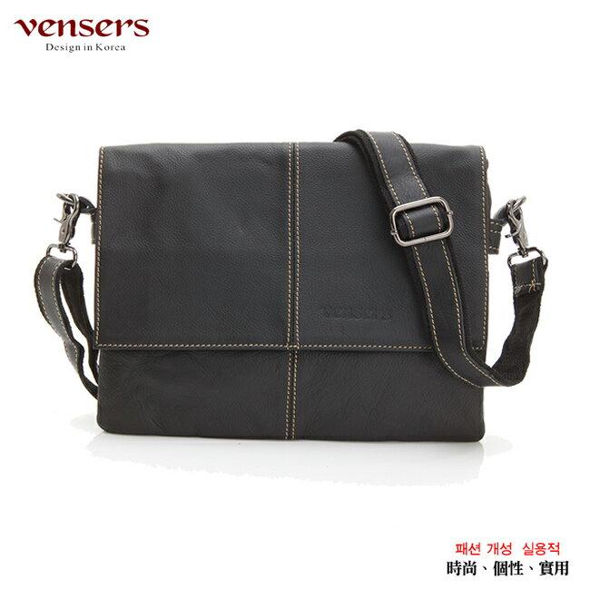 【Vensers】小牛皮潮流個性包~斜肩背包(N131001黑色) 0