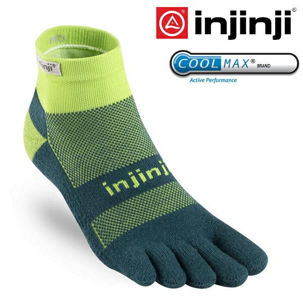 Injinji RUN 避震吸排五指短襪/跑步襪/路跑/馬拉松/越野跑/排汗透氣MW 1837 蔥綠