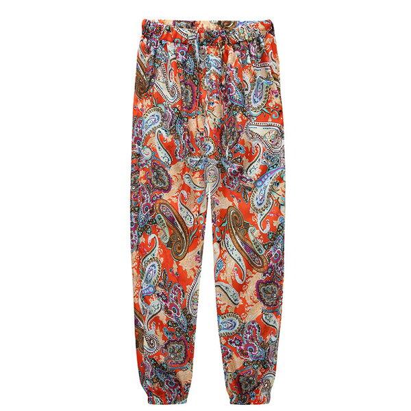 FINDSENSE服飾:FINDSENSEG5韓國時尚休閒舒適夏季透氣長褲民俗風寬褲