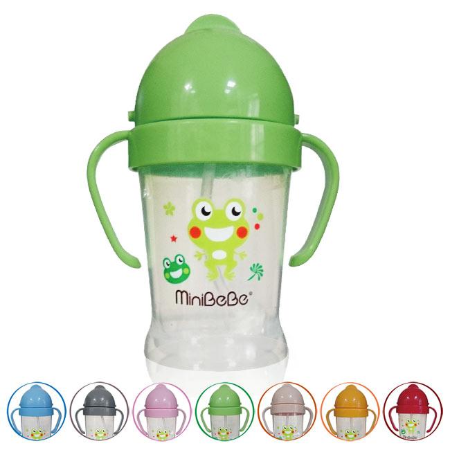 【奇買親子購物網】mini BeBe 小青蛙多多吸管杯200ml(男生款/女生款)