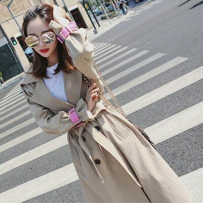 韓系撞色袖帶修身雙排扣風衣