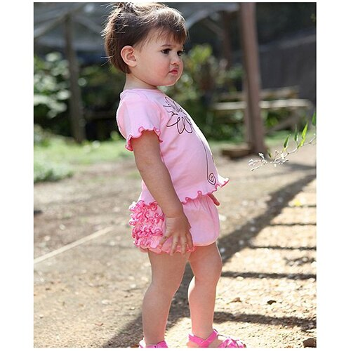 【hella 媽咪寶貝】美國 RuffleButts 小女生荷葉包屁褲/屁屁褲 粉紅 Knit (RBRBK01)