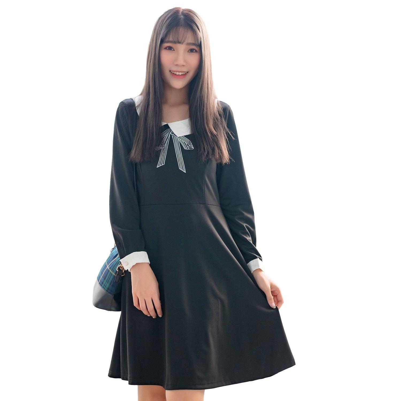 氣質洋裝--氣質可愛撞色娃娃領珍珠釦A字寬鬆修身長袖連衣裙(黑M-2L)-A360眼圈熊中大尺碼 0