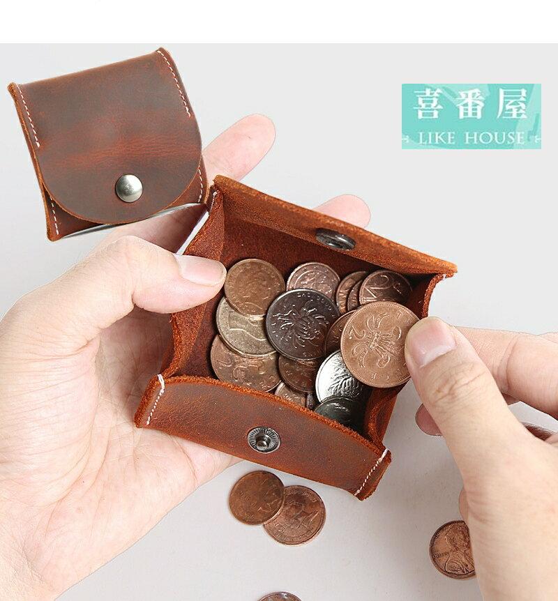 【喜番屋】真皮瘋馬牛皮復古可裝30枚硬幣隨身皮夾皮包錢夾零錢包小錢包硬幣包男夾女夾LH454