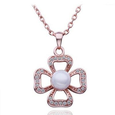 ~純銀項鍊 鍍18K金珍珠吊墜~鑲鑽花朵精美 母親節生日情人節 女飾品73ce59~ ~~