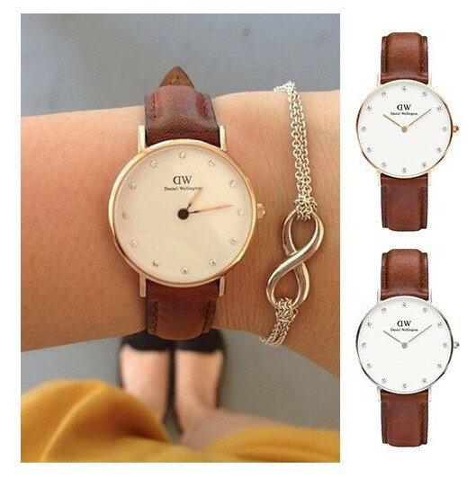 瑞典正品代購 Daniel Wellington 0950DW  玫瑰金鑽  真皮 錶帶 男女錶 手錶腕錶 34MM 1