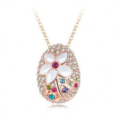 玫瑰金純銀項鍊 鑲鑽吊墜~蛋形花朵 獨特吸睛七夕情人節生日 女飾品73bh46~ ~~米蘭