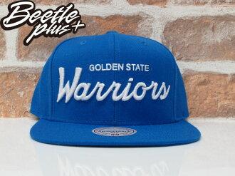 BEETLE PLUS 全新 MNITCHELL&ESS NBA WARRIORS 金州勇士 CURRY 藍白 草寫字 SNAPBACK 後扣帽 總冠軍 MN-372