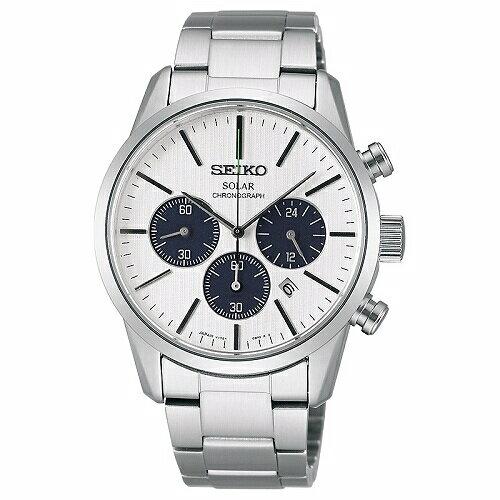 SEIKOSPIRIT太陽能三眼計時腕錶白面39mmSBPY085G(V175-0BJ0S)