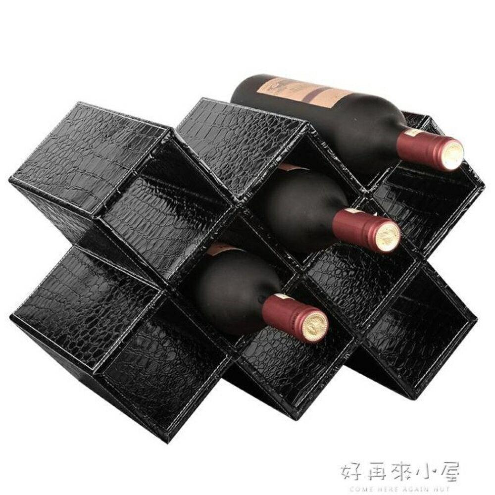 紅酒架擺件現代簡約實木家用客廳歐式創意葡萄酒瓶櫃格裝飾置物架 好再來小屋