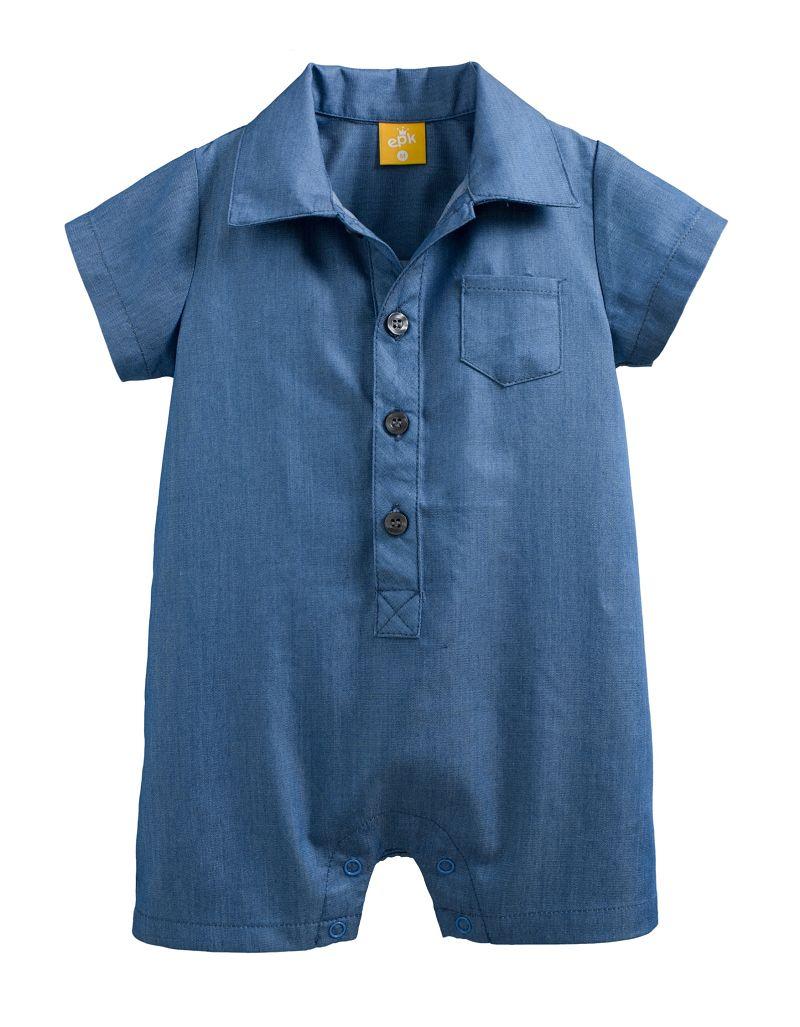 童裝 現貨 高級精梳棉襯衫前開扣短袖平腳連身衣-02素牛仔藍【87137】