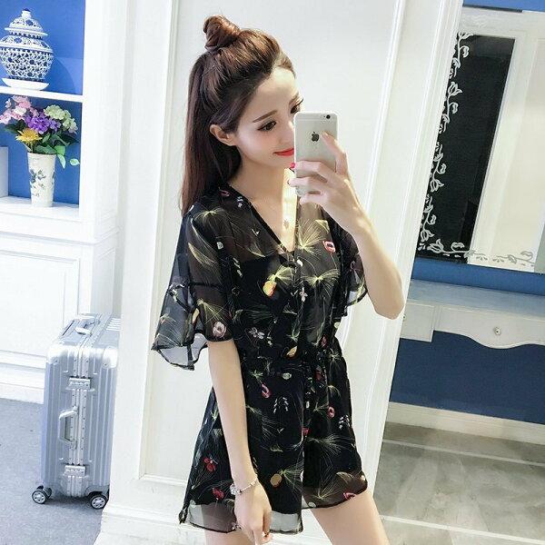 FINDSENSEG5韓國時尚碎花休閒雪紡荷葉袖V領高腰連身裙碎花裙