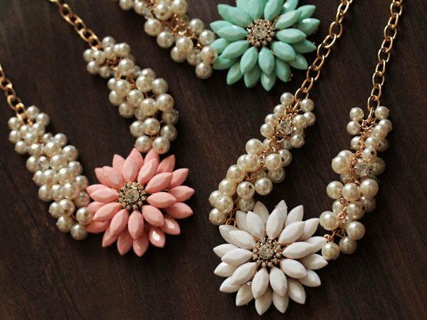 【櫻桃飾品】韓版甜美清新花朵造型珍珠項鍊短鍊超商取貨貨到付款批發【23694】
