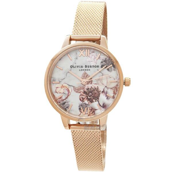OLIVIABURTONOB16CS06魔法花園玫瑰金色金屬網狀錶帶女錶30mm【錶飾精品】
