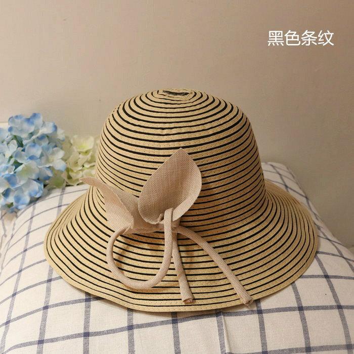 日系條紋布帽立體花朵可折疊遮陽防紫外線大帽簷夏天盆帽漁夫帽