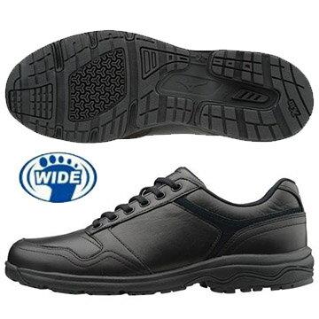 B1GC171409(黑)WAVELD40ZERO天然牛皮休閒款式寬楦健走鞋【美津濃MIZUNO】