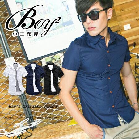 ☆BOY-2☆【PPK83021】短袖襯衫韓版潮流木扣修身質感型男休閒素面襯衫 0