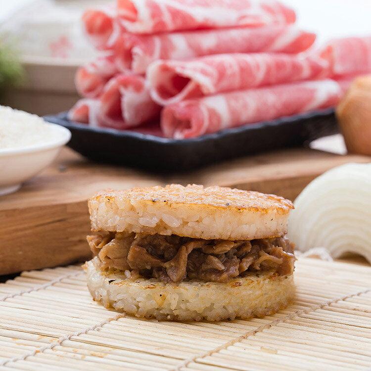 洋蔥豬肉米漢堡。超人氣美食《米漢堡》【尚介香】