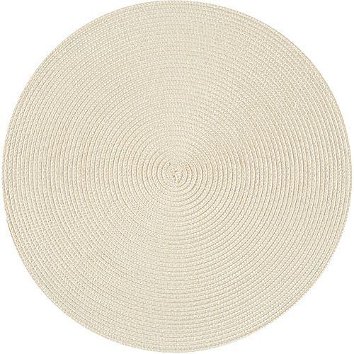 《NOW》素面織紋圓餐墊(奶油米)