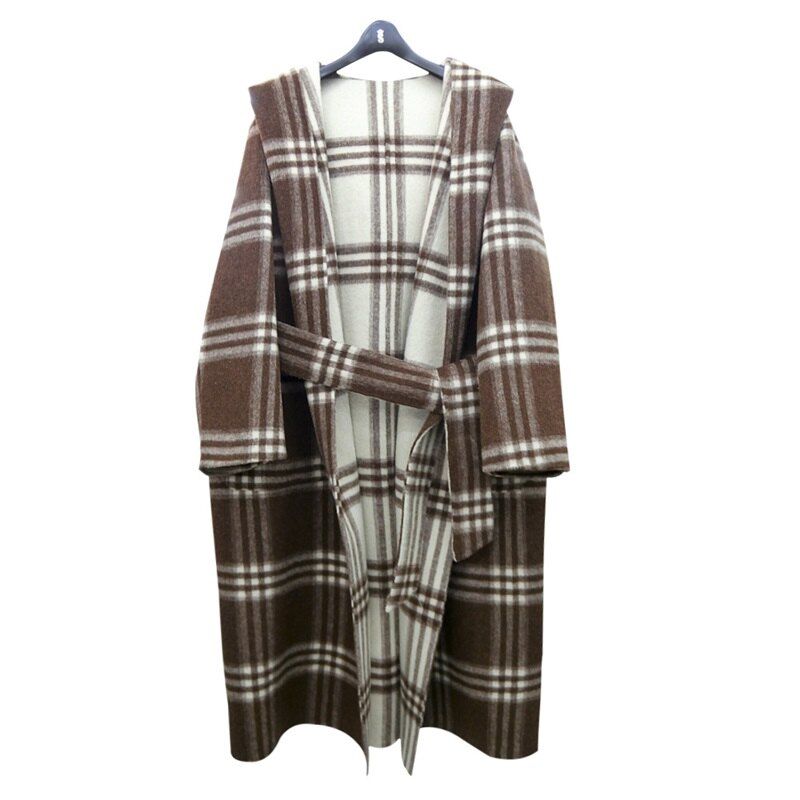 毛呢大衣羊毛外套-雙面穿拼色格紋連帽女外套73wb23【獨家進口】【米蘭精品】 1