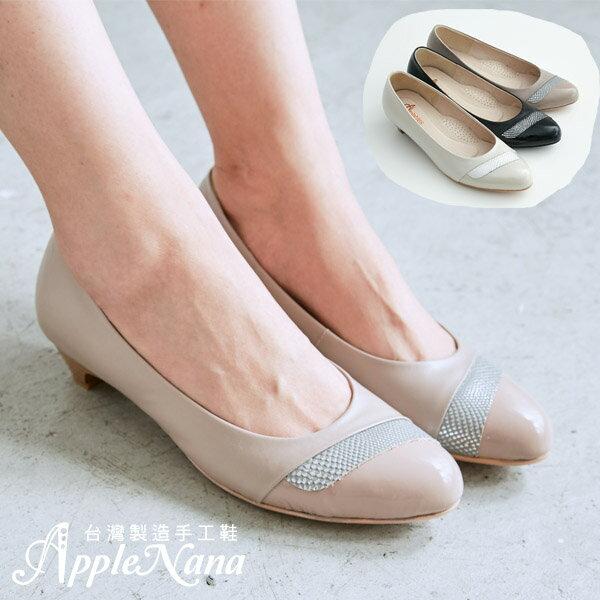 AppleNana。完美鞋楦意材質拼接真皮低跟鞋 【QCA146061380】蘋果奈奈 0