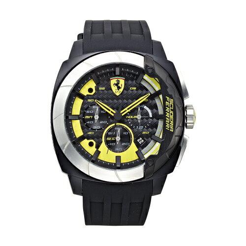 FERRARI Aerodinamico 競速賽車大鏡面計時三眼時尚腕錶/46mm/黃/0830206