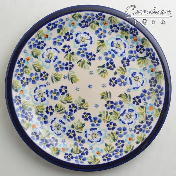 波蘭陶青藍夏日系列圓形餐盤陶瓷盤菜盤點心盤圓盤沙拉盤27cm波蘭手工製