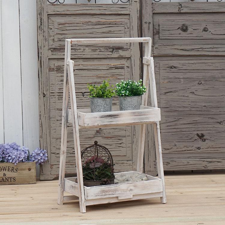 法式鄉村做舊雙層花架 店鋪咖啡店裝飾擺件 園藝雜貨1入