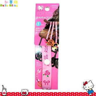 三麗鷗 凱蒂貓 Hello Kitty 防掉落扣繩 粉色 愛心 娃娃手推車 50CM 日本進口正版 354670