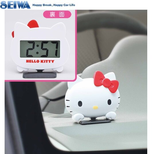 現貨【禾宜精品】車用 造型 時鐘 Hello Kitty SEIWA KT483 車用鐘 凱蒂貓 電池式時鐘